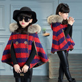 Children 's Wool Cape New Winter Kids Hooded Shawl Coat Baby Clothing Plaid Red Woolen Fur Red