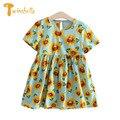 TWINSBELLA Dresses for Girls Summer Bright Sunflower Graphic Kids Dress Pleated Cotton Girls Clothing Princess Vestidos