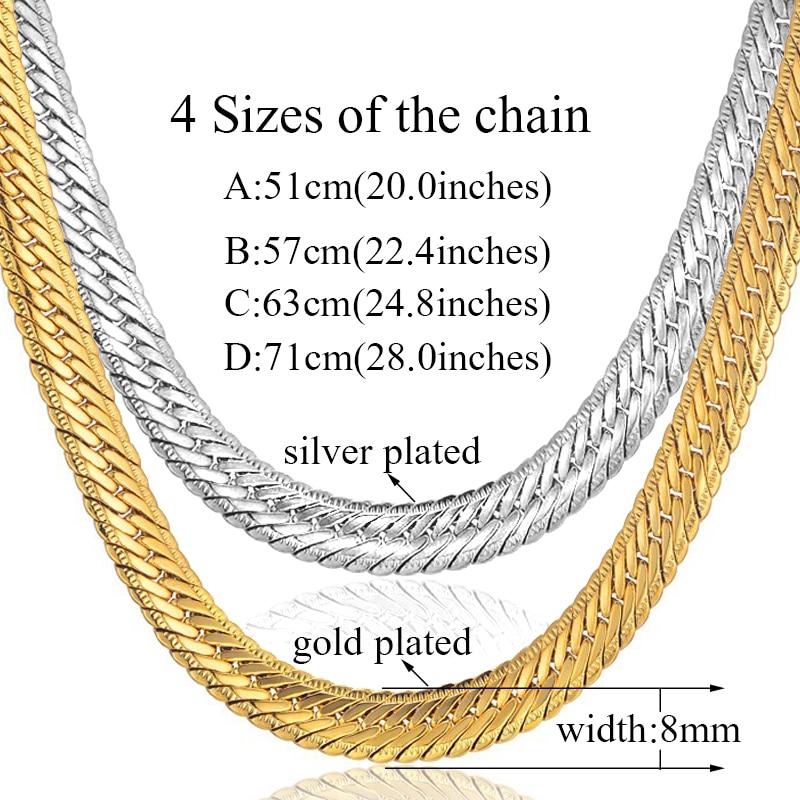 Hiphop Gold Chain miesten Hip Hop ketjun kaulakoru 8MM kulta väri - Muotikorut - Valokuva 2