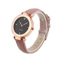 Стильный Для женщин кварцевые часы горный хрусталь браслет пары Водонепроницаемый кожаный ремешок для девочек часы