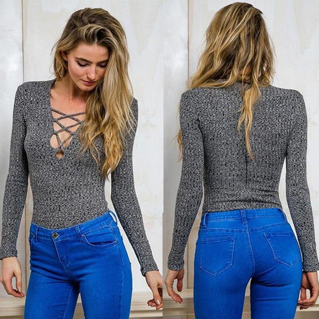 Mujeres Sexy Cuello En V Manga Larga Camisa de Encaje Delgado Suéter de Punto To