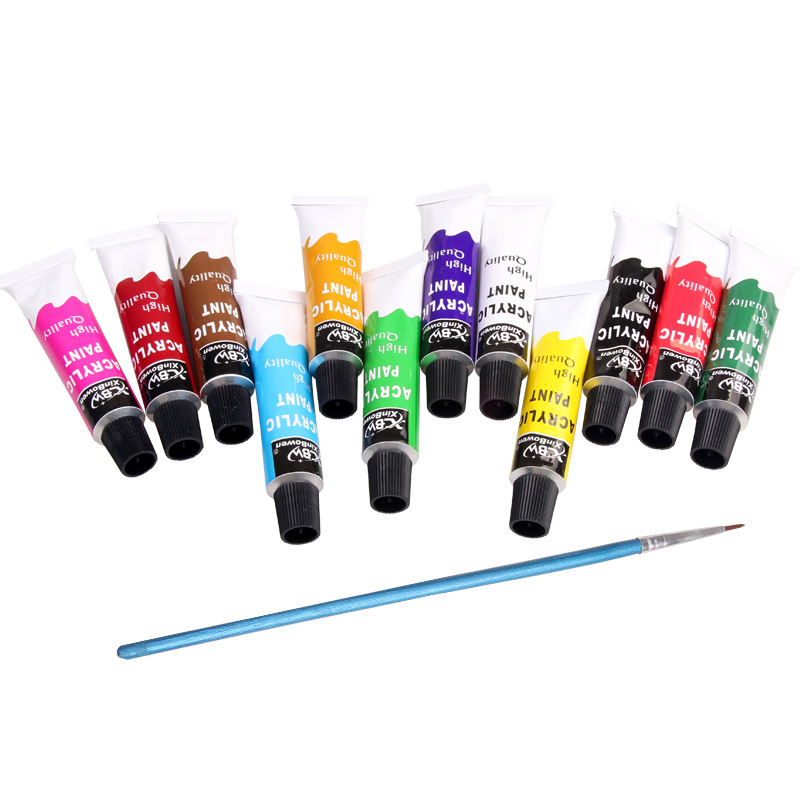 Profession 12ml 12 Colors Acrylic Paints Set Hand Painted DIY Nail Glass Wall Drawing Fabric Painting Art Supplies Free Brush