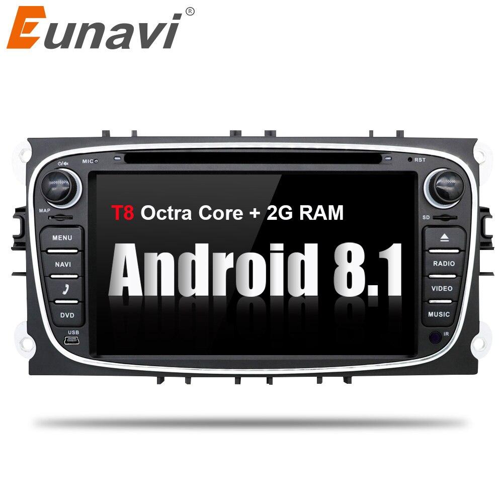 Eunavi 2 din Android 8.1 Octa Core Lecteur DVD de Voiture GPS Navi pour Ford Focus Galaxy avec Audio Radio Stéréo wifi Tête Unité 1024*600