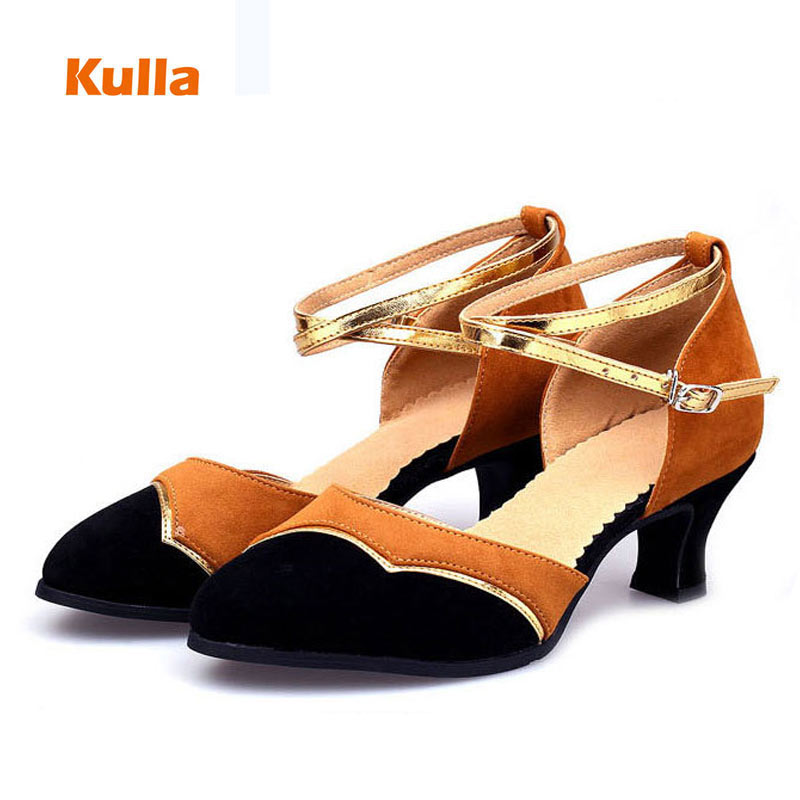 Womens Dance Soft Sole Pump Buckle Shoes Latin Tango Waltz Glitter Peep Toe Chic