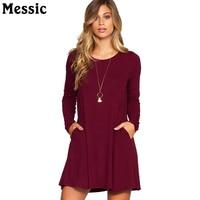 Messic Casual Loose Double Pockets T Shirt Dress Women 2018 Autumn Basic Mini Robe Femme Long