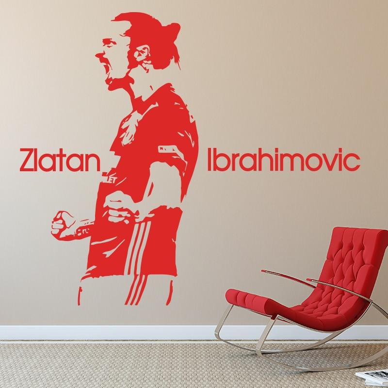 design Zlatan Ibrahimovic Figure Wall Sticker Vinyl DIY home decor football star Decals soccer athlete Player kids room M161