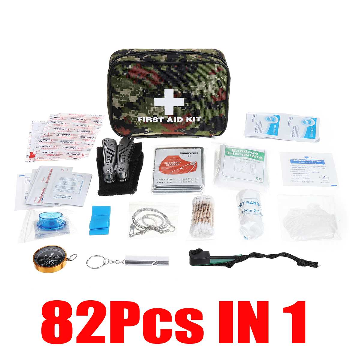 82PIECES IN 1 First Aid Kit For Medicines Outdoor SOS Emergency Survival Kit For Home Office Camping