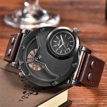 Ã�ップブランドの高級 OULM 9591 ǔ�性はステンレススチールケースデュアルタイム Pu Ã�ザークォーツ腕時計スポーツメンズ腕時計