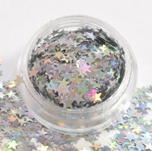 1Box Glitter Nail Holographic Sequins stars star in silver iridescent holographic glitter