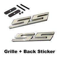 2pcs Sets SS Front Grille White Back Sticker Car Emblem Badge For CHEVROLET CRUZE Silverado MALIBU
