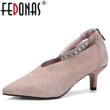 FEDONAS النساء مضخات الكريستال Eleganet حجر الراين عالية الكعب أحذية الحفلات الزفاف امرأة أشار تو أنيقة موضة جديدة مضخات