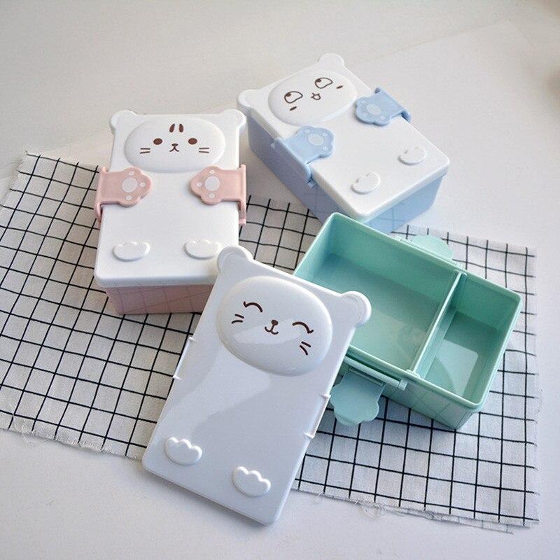 1PC Portable Cartoon Lunch Box Fod Kids Food Fruit Container Storage Box Picnic Plastic Bento Box Children Gift 3B