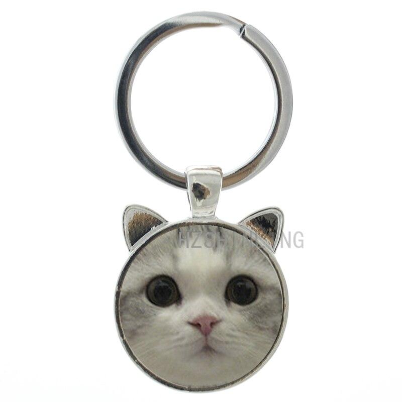 Нескольких стилей кошачьими ушками брелок прекрасный Monchichi кошка собака лицо искусстве стеклянный купол цепочка для ключей кольцо Хэллоуи...