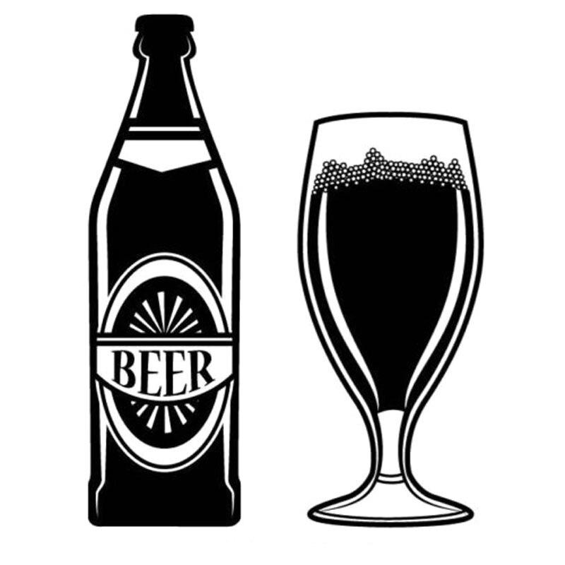 XCM BEER BOTTLE AND GLASS Originality Vinyl Decal Black - Vinyl stickers for glass bottles