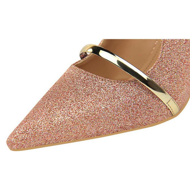 Bigtree รองเท้าเซ็กซี่ Hollow ผู้หญิงปั๊มแฟชั่น Bling รองเท้าแต่งงานทองเงินรองเท้าส้นสูงผู้หญิงรองเท้า Kitten Heels ผู้หญิง Stiletto