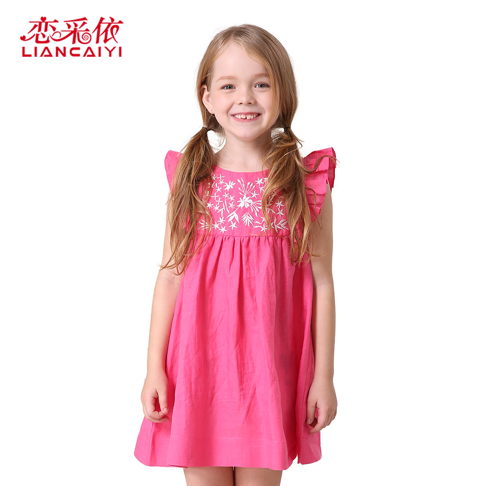 Girls Summer Dress 2017 Children Clothing Brand Clothes Kids Princess Holiday Party Wedding Toddler Flower Printed Dresses girls dresses summer 2016 performance clothing girls princess dress children dress flower wedding dress girls clothes