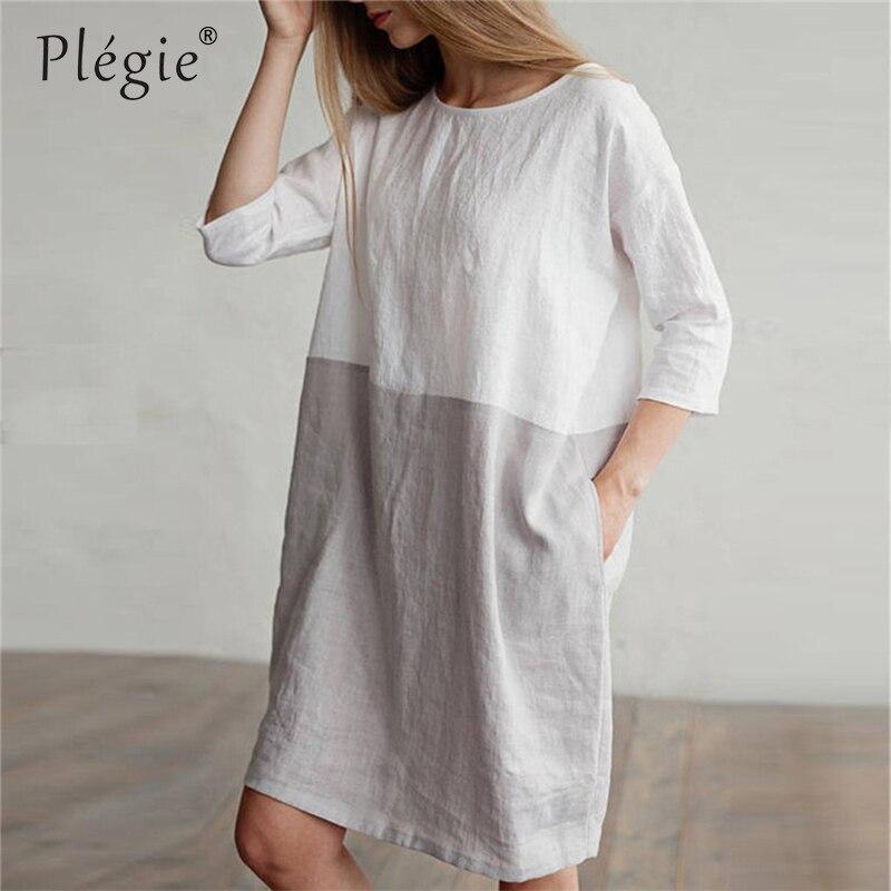 Plegie Cotton Linen Straight Summer Dress Women Patchwork Ba