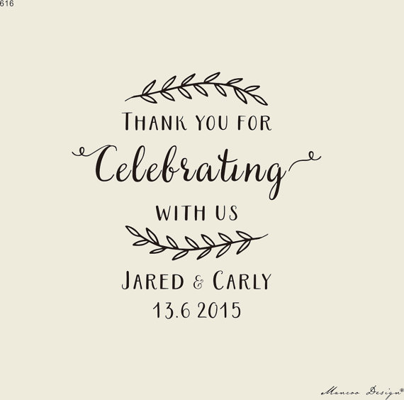 custom wedding calligraphy stamp thank you for celebrating with us