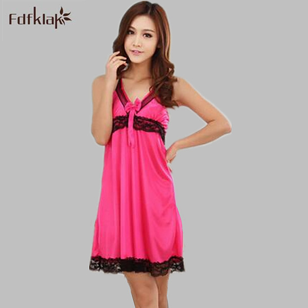 Sexy short faux silk   nightgowns   women's v-neck backless nightshirt lace decoration women summer ladies sleepwear   sleepshirt   Q618