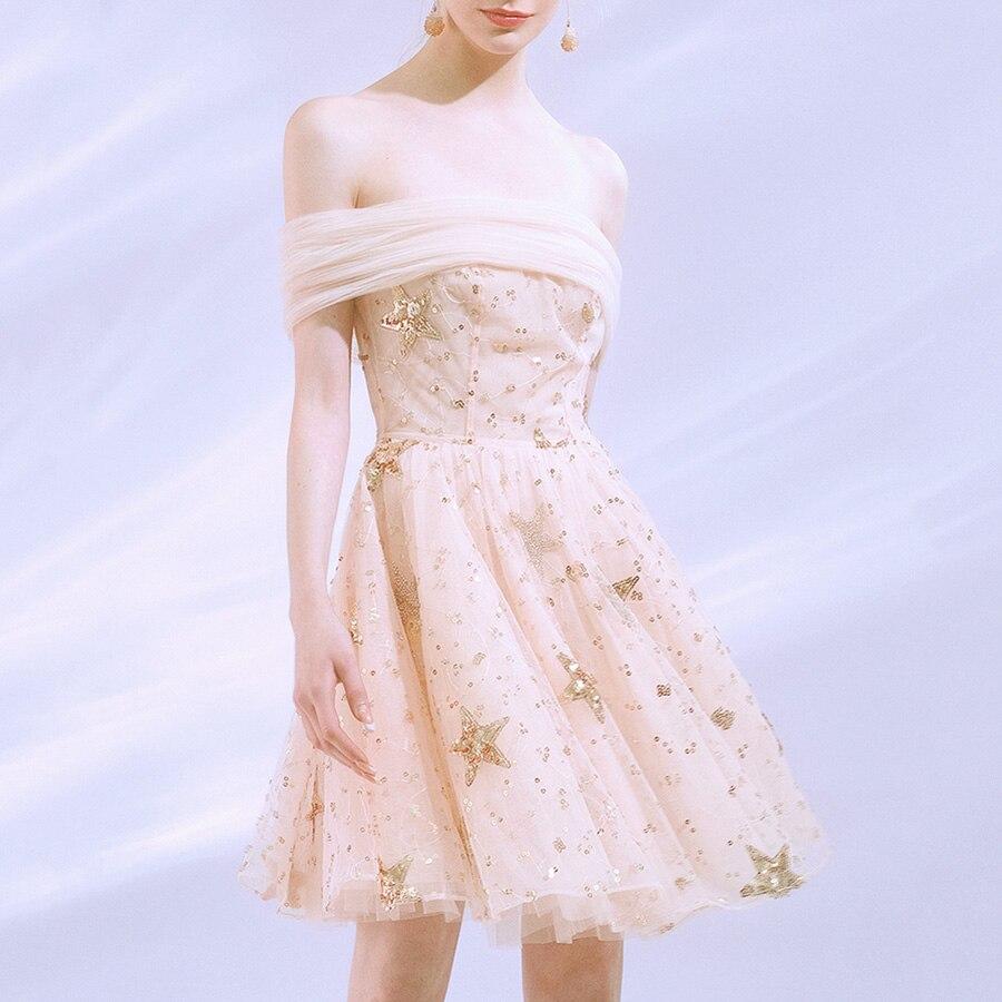 Nouvelle arrivée Design mode 2019 été rose étoile motif femmes robe maille Slash cou hors épaule dos nu Sexy Mini robe