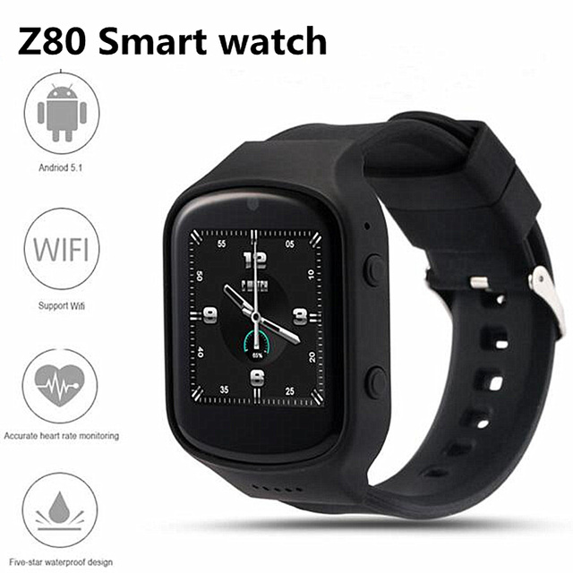 Горячая Bluetooth smart watch Z80 Android 5.1 OS MTK6580 Quad Core Smartwatch С 3 Г wi-fi GPS Heart Rate Monitor Google Play Магазин