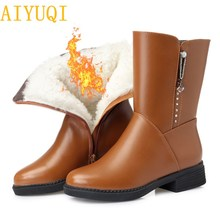 AIYUQI2019 new genuine leather female martin boots,big size 41 42 43 warm thick wool snow boots women, sexy female winter boots цена и фото