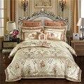 Золотого цвета в европейском стиле роскошные королевские постельные принадлежности наборы queen большой двуспальный атласный пододеяльник ...