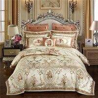 Золотого цвета в европейском стиле роскошные королевские постельные принадлежности наборы queen большой двуспальный атласный пододеяльник