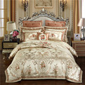 Goud kleur Europa Luxe Koninklijke Beddengoed sets Queen King size Satijn Jacquard dekbedovertrek Bed cover lakens set kussensloop 4 /6/9 Pcs