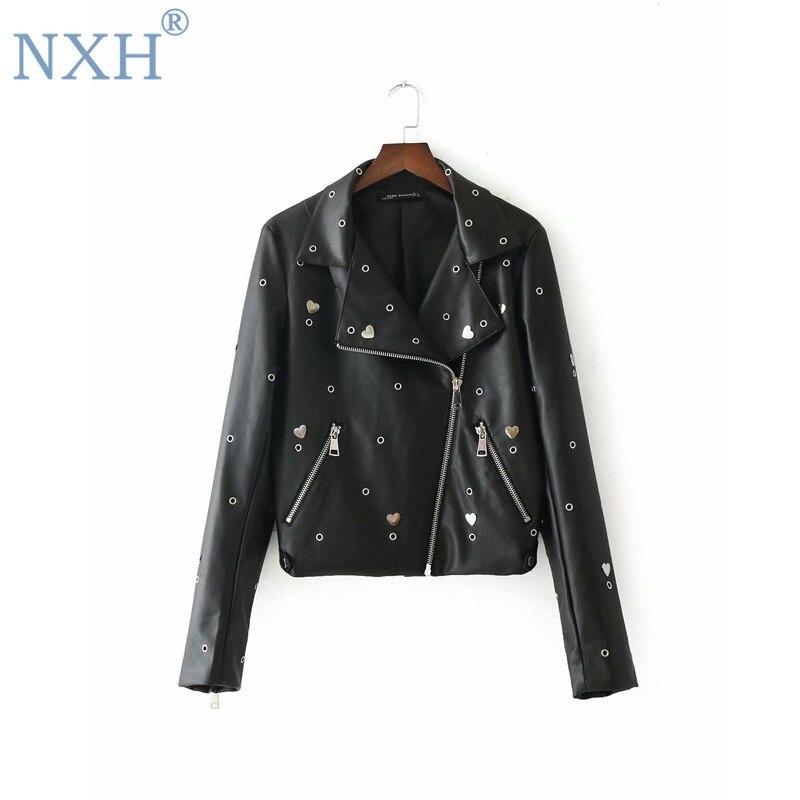 NXH 2019 new fashion womens punk jacket rivet Embroidery Ladies motorcycle suit short style zipper outwear