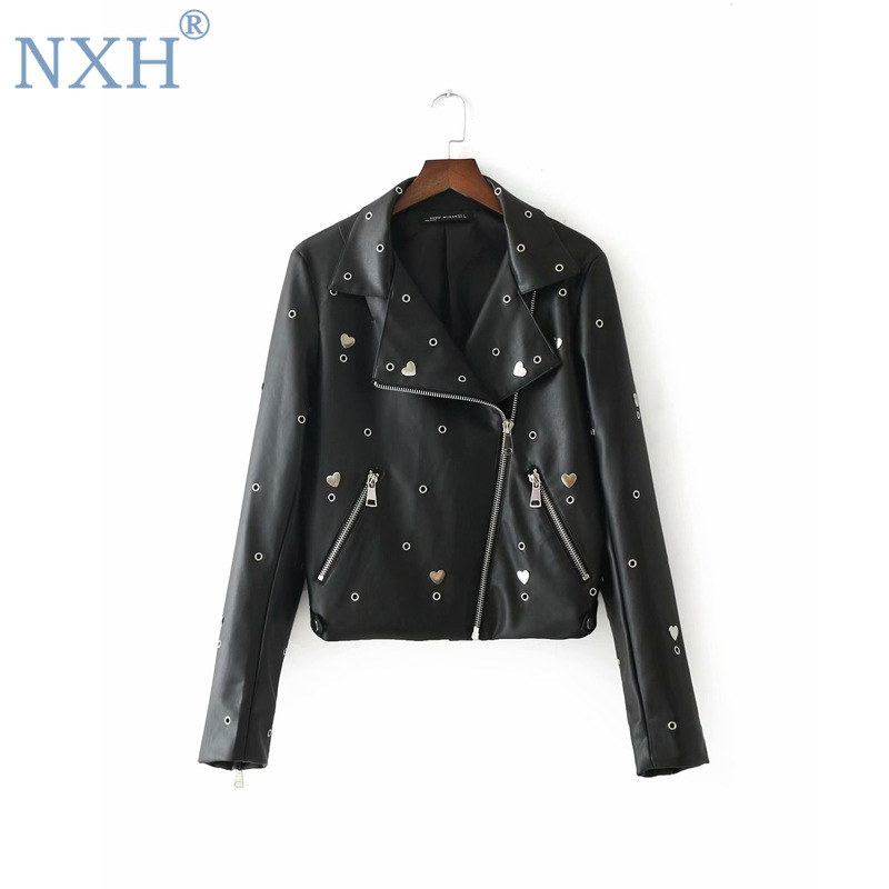 NXH 2019 new fashion womens punk jacket rivet Embroidery Ladies motorcycle suit short style zipper outwear pu   leather   jacket