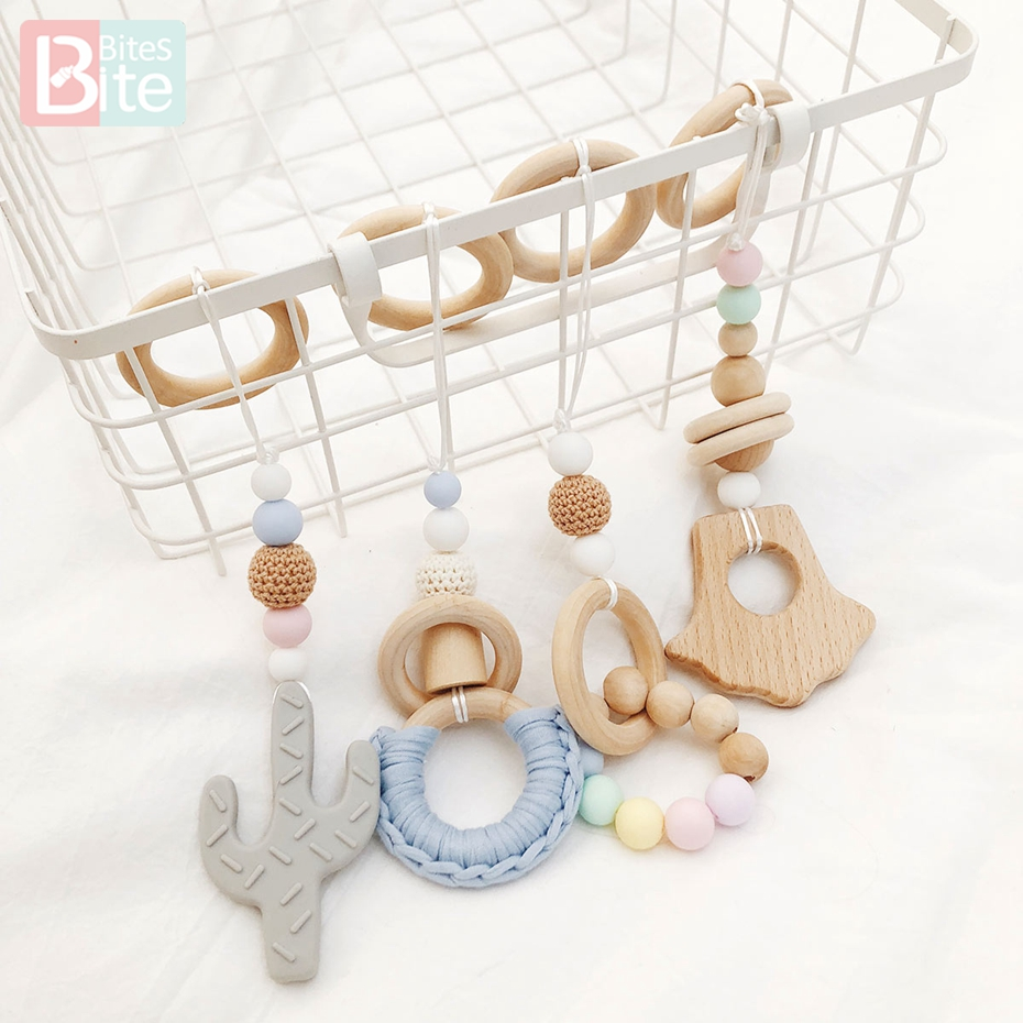 Bite Bites 1 Set Cactus  Pendant Of Four Silicone Rodent Natural Wooden Ring Crochet Beads Play Gym Nurse Gift Baby Teether