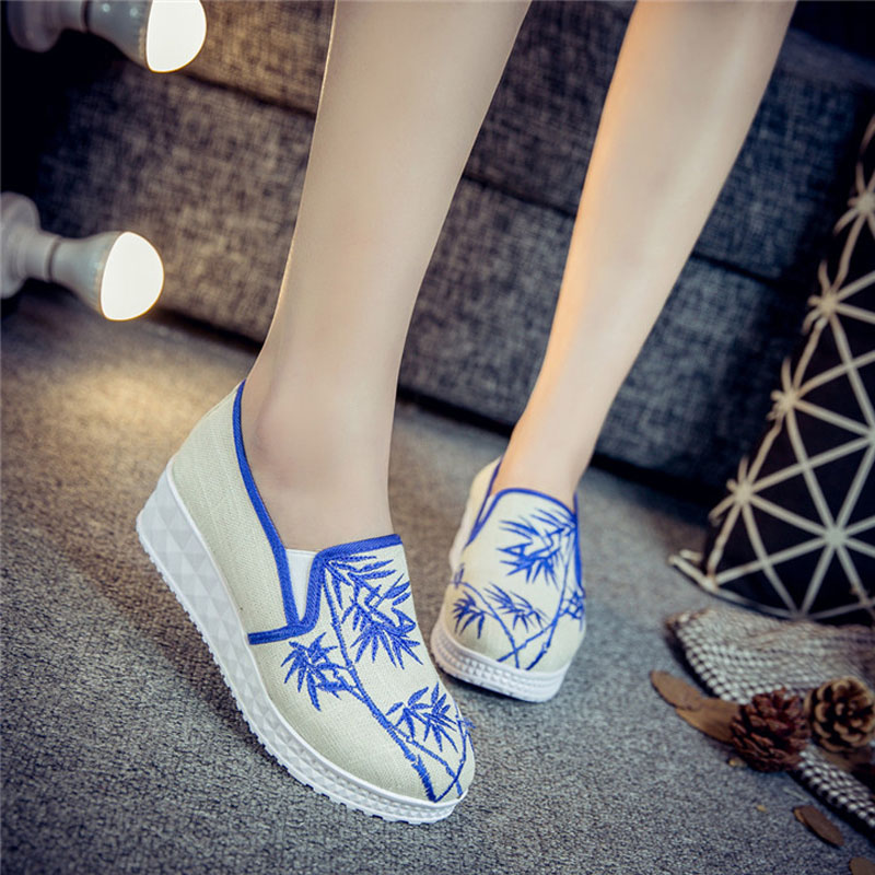 new sample women flats 2017 spring summer old peking chinese style embroidered shoes casual shoes students elastic canvas shoes - Free Sample Shoes