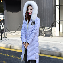 Brand New 2016 High Quality Large Real Fox Fur Collar Women Down Jacket Winter White Duck Down Coat Long Women Thick Parkas