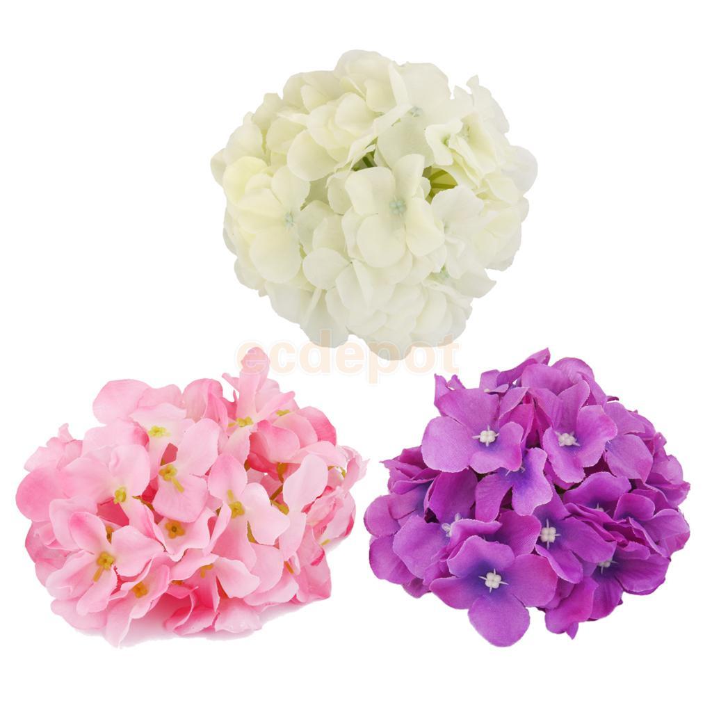 20x Artificial Hydrangea Flowers Home Wedding Silk Flower Head