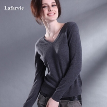 Lafarvie Cashmere Blended Knitted Sweater Women Tops Winter Warm Woolen Pullover Female New 2017 Fashion V-Neck Colorful Jumper