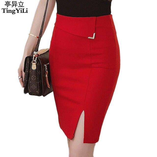 e4e22b09fddc0d € 9.91 8% de réduction|TingYiLi avant Split Sexy Mini jupe bureau dames  bleu rouge noir jupe crayon été court serré femmes jupe dans Jupes de ...