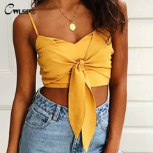 CWLSP 2018 Summer Sexy Tanks For Woman Fashion Solid Crop Top With Bow Backless Zipper Lace Up Lingerie Female QZ2794