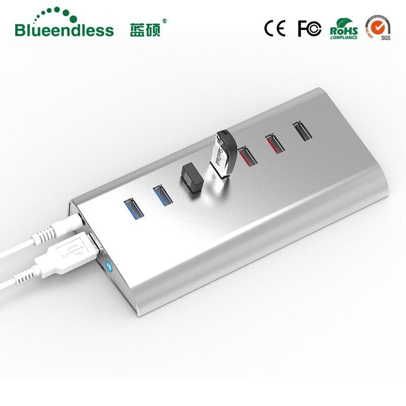 En aluminium Rapide De Charge USB 3.0 HUB USB Hub Splitter pour PC Portable Ordinateur Portable Périphériques Accessoires Haute Qualité Vitesse