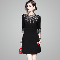 High Quality Luxury Diamonds Beading Party Dresses Women Elegant 2018 Fashion Autumn Winter Dresses Casual Black Vestidos