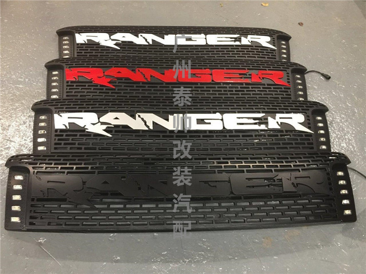FOR RANGER T6 TXL 2012-2014 FRONT RACING GRILLE GRILLS ABS FRONT CAR MASK COVER WITH LED DRL