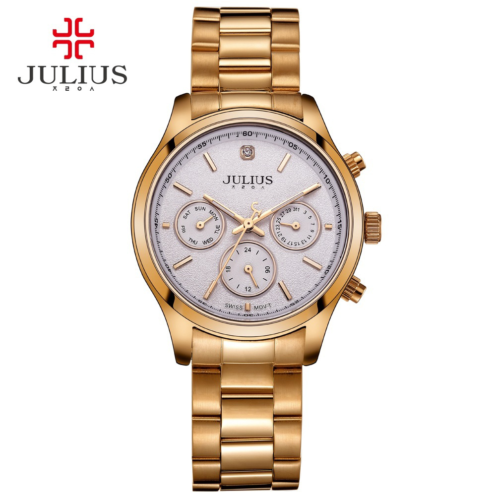 Julius Brand Women Silver Rose Gold Full Stainless Steel Chronograph Quartz Watches Casual Fashion Dress Montre Femme Waterproof