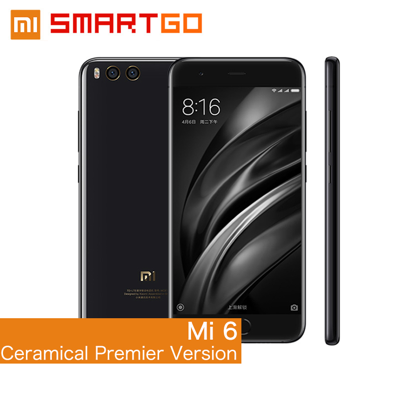 Original Xiaomi Mi6 Mobile phone Ceramical Premier Version 6 GB RAM 128GB ROM Snapdragon 835 Octa Core 1920x1080 Dual Cameras