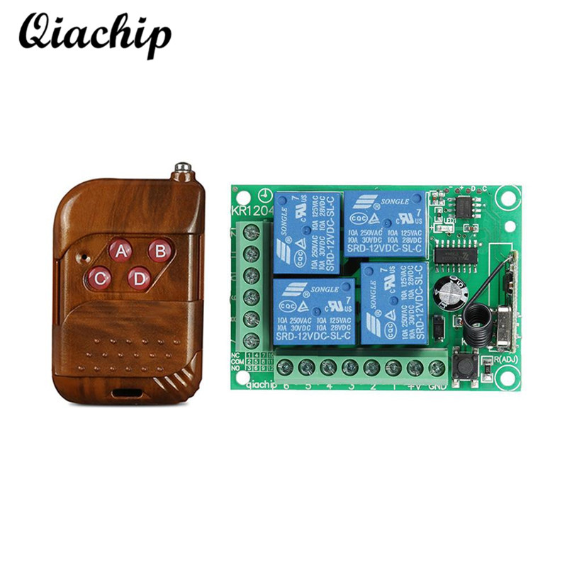 QIACHIP 433Mhz DC 12V 4 CH RF Relay Wireless Remote Control Switch Receiver Module and RF 433Mhz Transmitter Remote Controls Diy