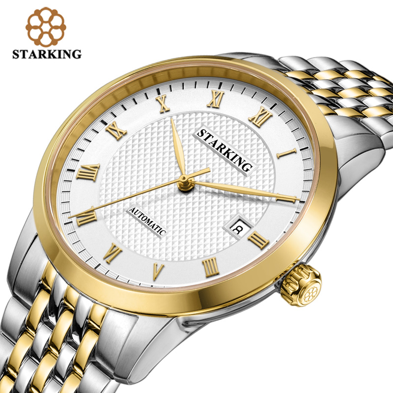 STARKING Business Watch Men Automatic Full Stainless Steel Roman Dial Sapphire Crystal Wrist Watches Relogio Masculino AM0187 fashion 40mm pranis silver dial full stainless steel sapphire glass automaic self wind mechanical men s business watch