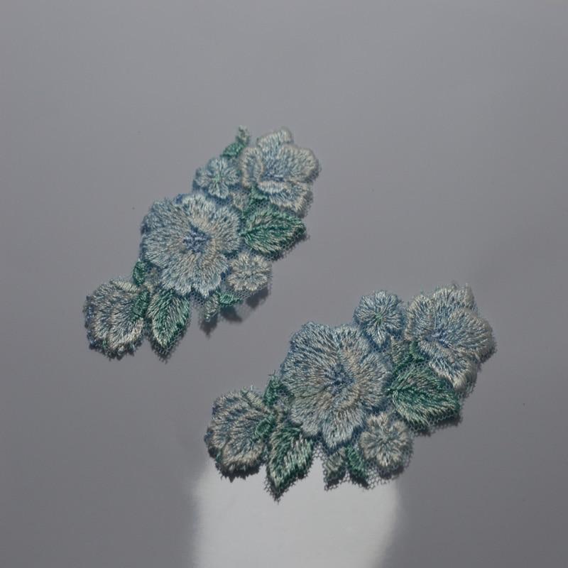 Doprava zdarma 8.5 * 4.5cm (3ks / lot) světle modré skvrny Svatební svatební vyšívání Krajka patch Šití krajka Applique