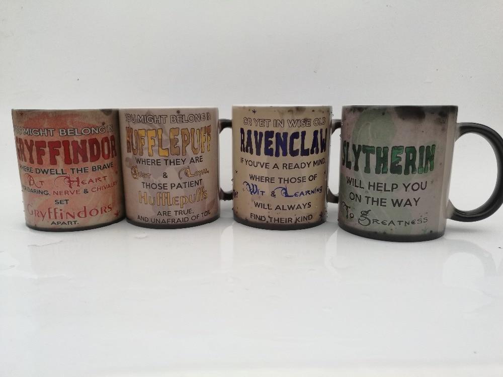 hogwarts mugs slytherin mug Ravenclaw hufflepuff mugs gryffindor mug heat reveal magic coffee beer tea