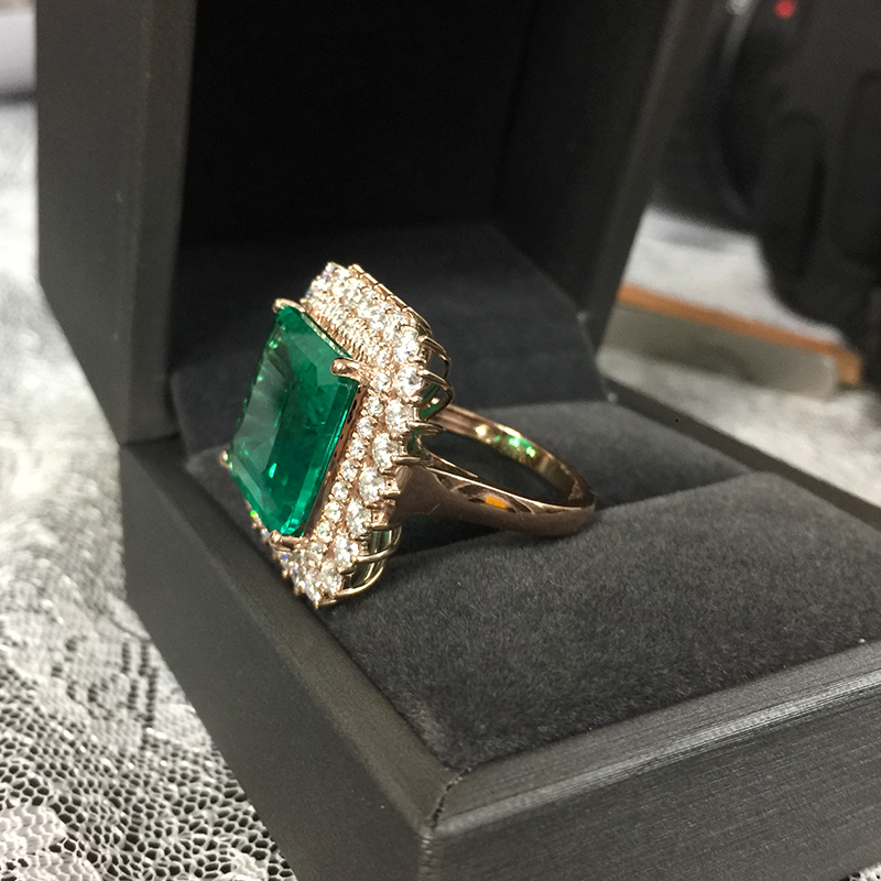 Image 2 - Fine Jewelry Real 14K Rose Gold 8ct AAA Colombian Lab Grown Emerald like Natural with Moissanite Gemstone Wedding Rings-in Rings from Jewelry & Accessories