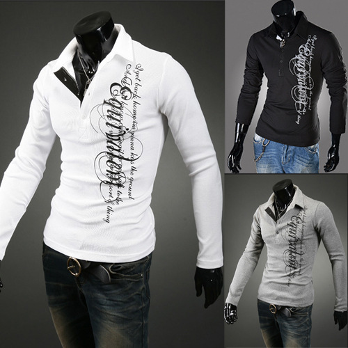 Hot Sale Solid Full Men's Polo Shirt Slim Fit Turn Over Collar Tee Long Sleeve Shirts Fashion Cotton Clothing Free Shipping