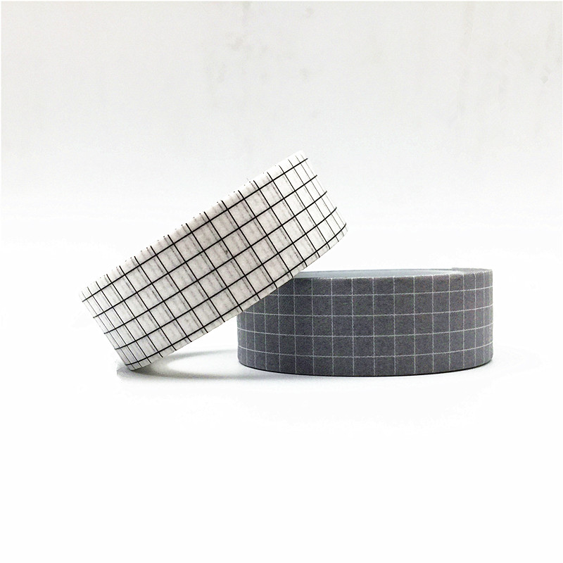 10M Black and White Grid Washi Tape Japanese Paper DIY Planner Masking Tape Adhesive Tapes Stickers Decorative Stationery Tapes 4